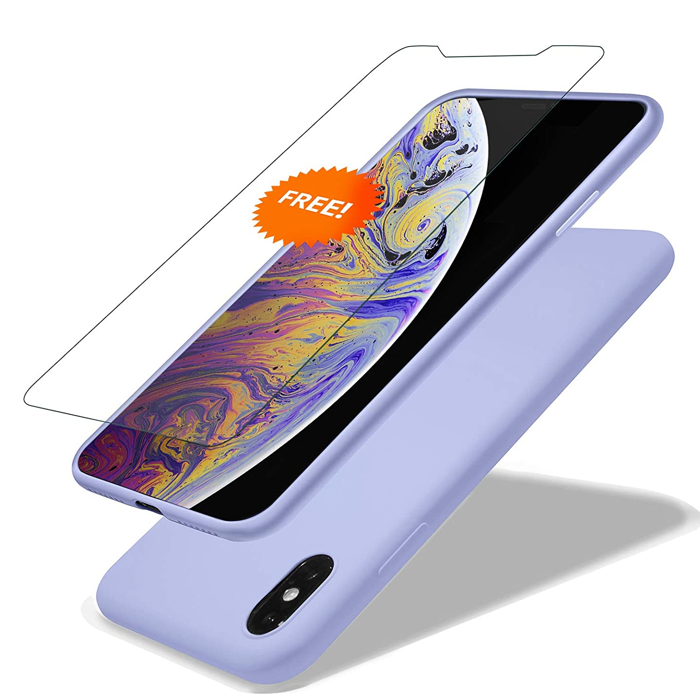 GARLEX-iPhone Xs Max Silicone Case, Ultra Thin Liquid Gel Rubber Phone Cover Case with Hybrid Protection Compatible with iPhone Xs Max 6.5 Inch (2018), Purple