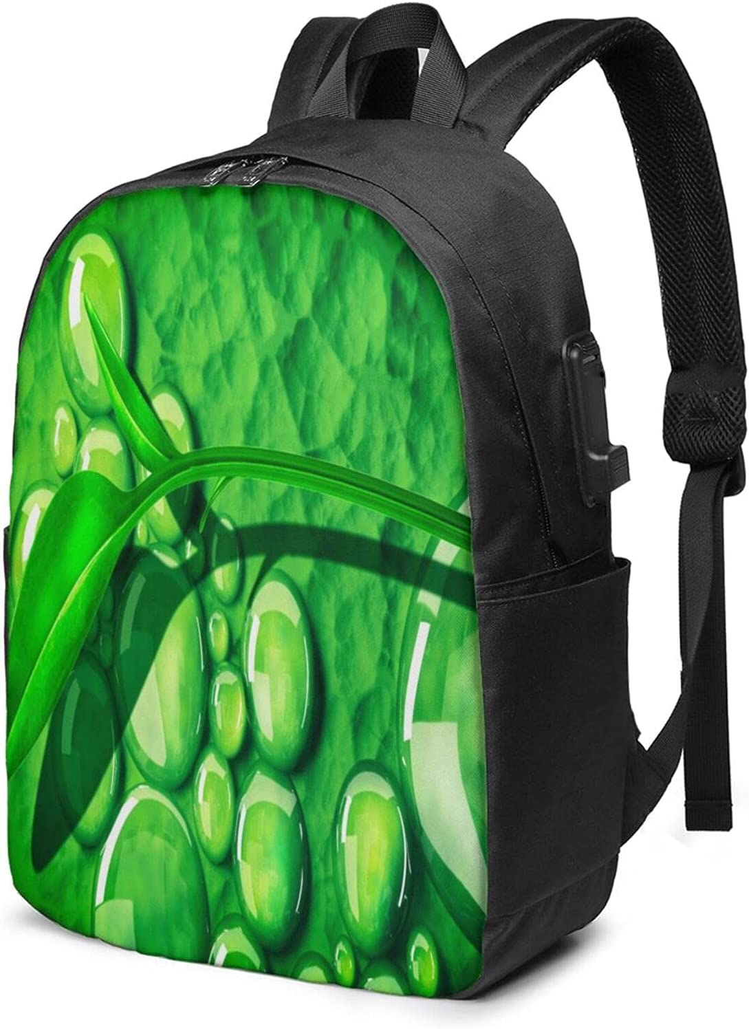Green OFFer Leaves And Water Drops Laptop discount For â Daypack Girls Backpack