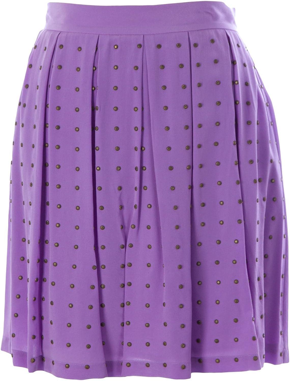 Rebecca Minkoff Women's Silk HiWaisted Studded Femi Skirt Sz 4 Lavender