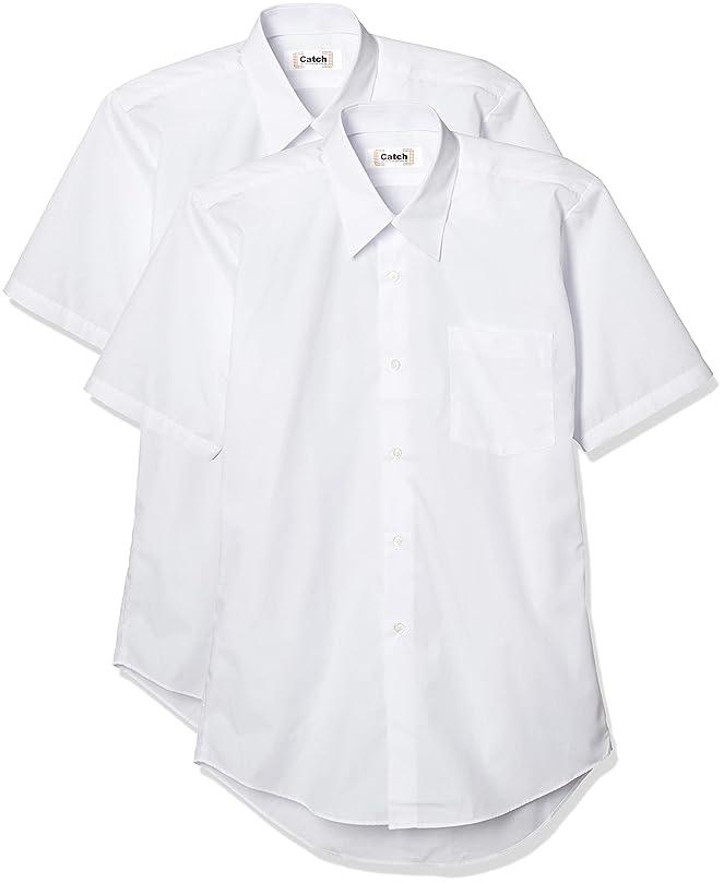 匿名評決有料[キャッチ] 2枚組 男子 半袖 学生スクール用 ワイシャツ 形態安定 制服 標準体型 A体 半袖ワイシャツ