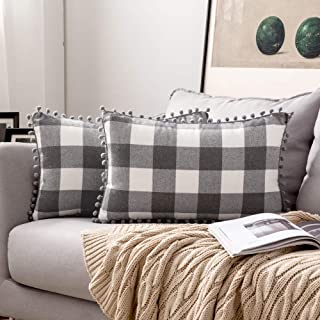 Best MIULEE Set of 2 Retro Farmhouse Buffalo Plaid Check Pillow Cases with Pom-poms Decorative Throw Pillow Covers Cushion Case for Sofa Couch 12x20 Inch Grey and White Review