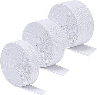 Sunmns 3 Rolls Sewing Stretch Elastic Band Spool, 3/5, 1, 1-1/2 Inch in Width, 5.5 Yards/Roll (White)