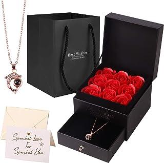 Yodeace Rose Eternelle, Cadeau Femme Cadeau Fête des Mères Fleur éternelle Savon Rose Boîte à Bijoux avec Collier Dauphin ...