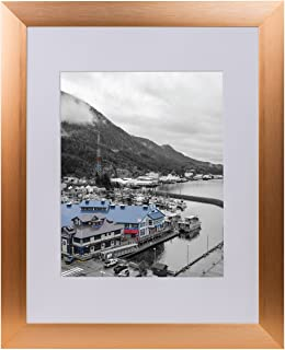 Golden State Art, Rose Gold Color Satin Aluminum Landscape Or Portrait Photo Frame with Ivory Color Mat & Real Glass (11x14)