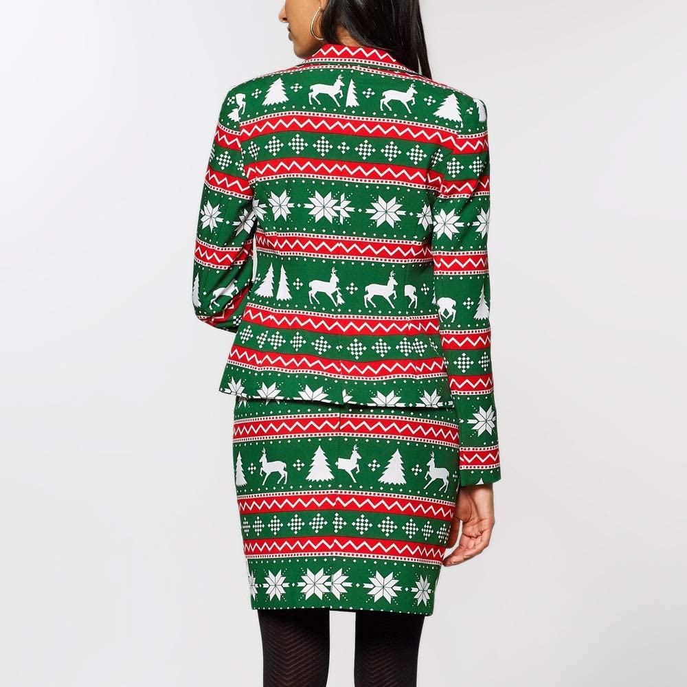 Arlita Women's 2 Piece Christmas Outfits Lapel Suit Set Slim Fit Blazer Jacket Bodycon Skirt