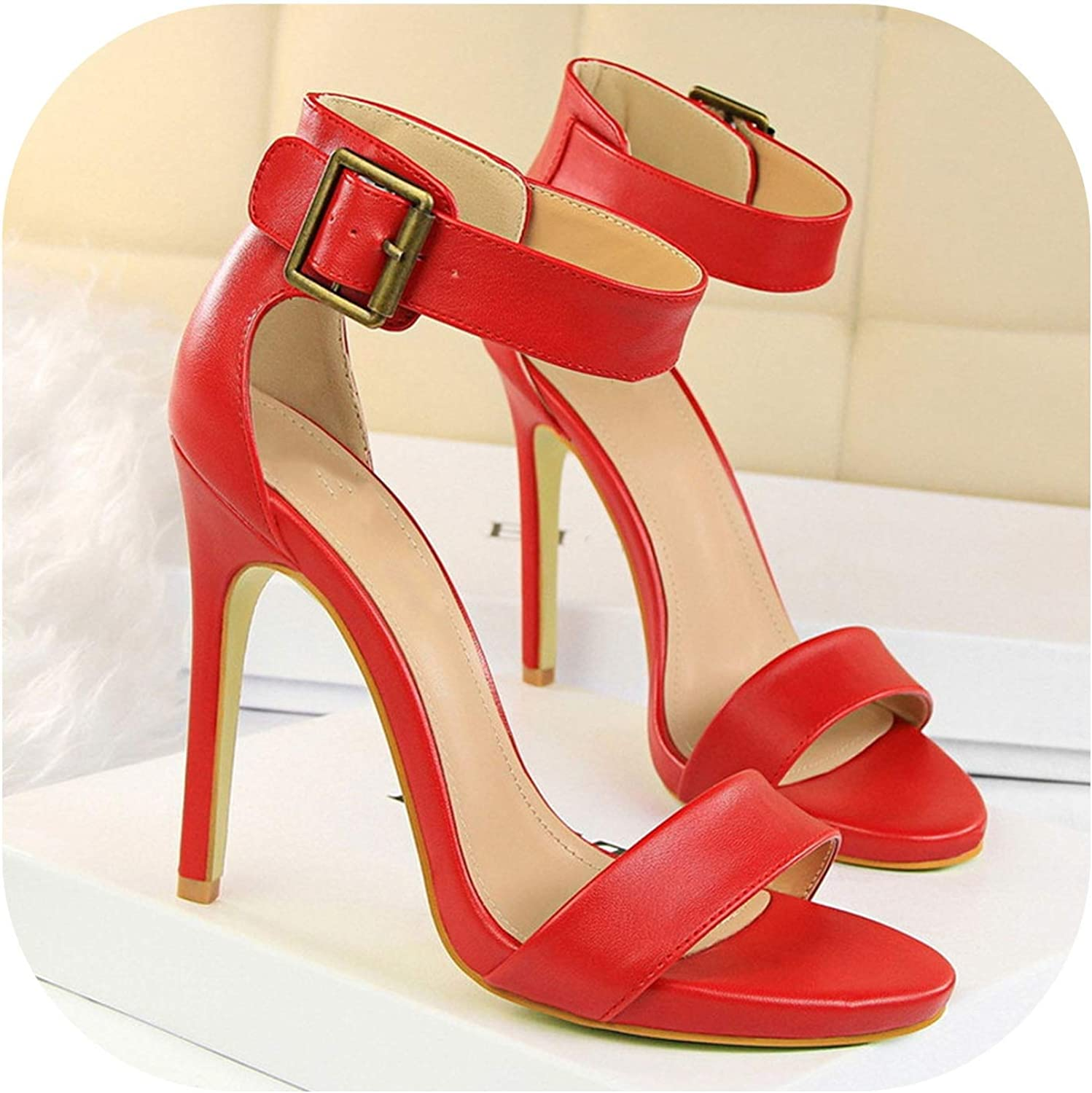 Women Sandals Solid High Heels PU Leather High Heels Sandals Open Toe Buckle Women's shoes
