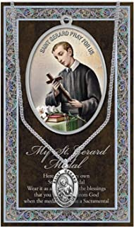 St Gerard Pendant Pewter Medal on 18 Inch Stainless Steel Chain with Prayer