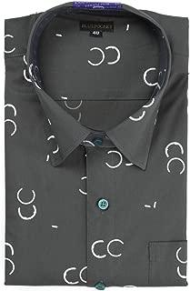BLUEPOCKET Printed Shirt for Men. Casual, Cotton, Regular Fit, Rounded Hemlines (Grey Print)