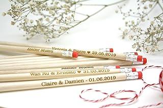 Matite di legno x25 con testo personalizzato, regalo per gli ospiti per matrimonio, gomma rosa
