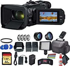 Canon Vixia HF G60 UHD 4K Camcorder (Black) (3670C002) with Extra Battery, UV Filter, Close Up Diopters, Wide Angle Lens,P...
