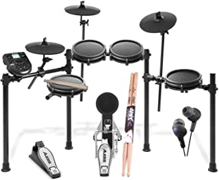 Alesis Nitro Mesh Drum Kit, 8-Piece Electronic Kit with Drum Module + On Stage Maple Wood 5B (1 Pair) Of Drumsticks +JVC HAFX5B Gumy Plus Inner Ear Headphones Top Accessory Bundle