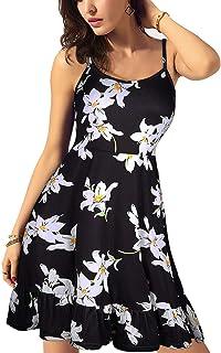KILIG Women's Floral Print Sundress Adjustable Spaghetti Strap Sleeveless Summer Swing Dress