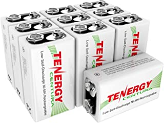 Tenergy 9V NIMH Rechargeable Batteries, 200mAh Low Self-Discharge Square Battery for Smoke Alarm/Detector (10 PCS)