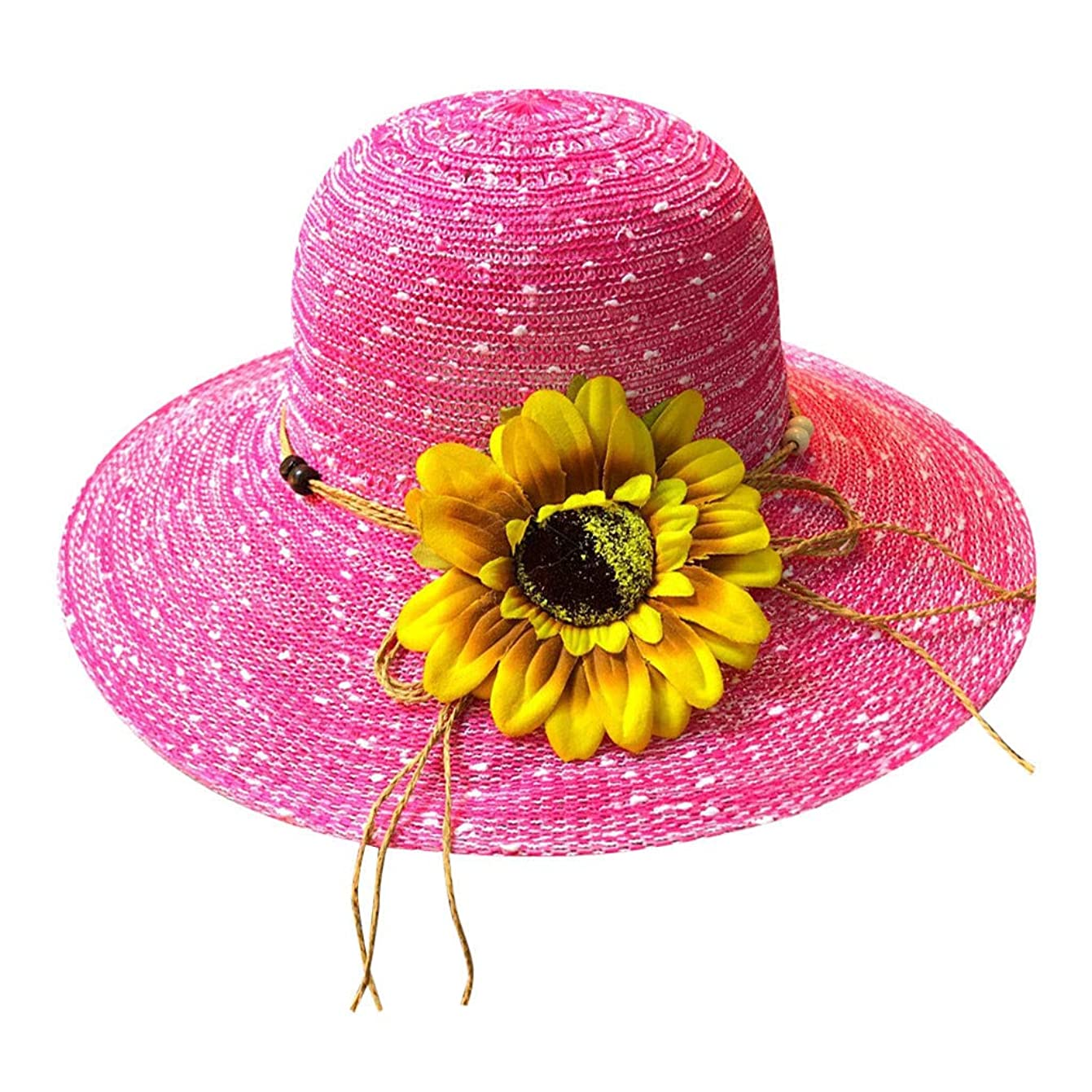 懐疑的バーターヒロイン帽子 レディース アウトドア 夏 春 UVカット 帽子 ハット 漁師帽 日焼け防止 つば広 紫外線対策 大きいサイズ ひまわり 可愛い ハット 旅行用 日よけ 夏季 ビーチ 無地 ハット レディース 女性 ROSE ROMAN