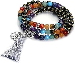 QGEM - 108 cuentas de piedras preciosas, pulsera de yoga, chacras, buda, pulsera budista, tibetana, Reiki, colgante con el...