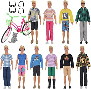 EuTengHao 26 Pcs Doll Clothes and Accessories for Ken Dolls Includes 20 Different Wear Clothes Shirt Jeans Set for Barbie Ken Doll ,2 Pairs of Glasses,2 Earphones, Cat and Big Bike for Ken Barbie Doll