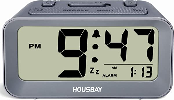 Battery Alarm Clocks For Bedrooms Large Numbers Simple Setup Good View Angles Two Backlight Choices 12 24 Hour Cool Gray