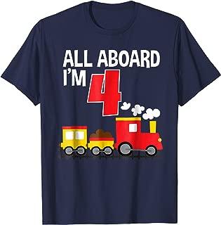 All Aboard I'm 4 Train Birthday T-Shirt Toddler Boys Girls