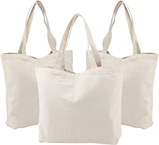 Canvas Totes Bags, 3PCS Segarty 16.5X13in Natural Large Plain Bags to Decorate, Reusable Grocery Shoulder Bulk Cotton Bags with Bottom Gusset for DIY Crafts Painting, Shopping,Book, Diaper Bag, Beach