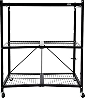 Origami 3-Shelf General Purpose Collapsible/Foldable Shelving Unit, Holds up to 750 Pounds   Organizer, Rolling Cart, Home Kitchen Laundry Closet Storage, Metal Wire, Pre-Assembled   Black