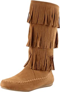 Best tan faux suede moccasin style fringe boot Reviews