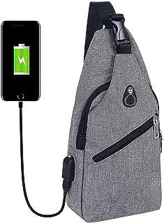 flintronic Sling Bag, Bolsa de Pecho con Puerto de Carga USB y Puerto para Auriculares, Hombres Mujeres Senderismo Ligero ...