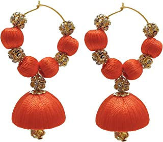 Designer Orange Silk Thread Bali Earrings with Rhinestone Balls
