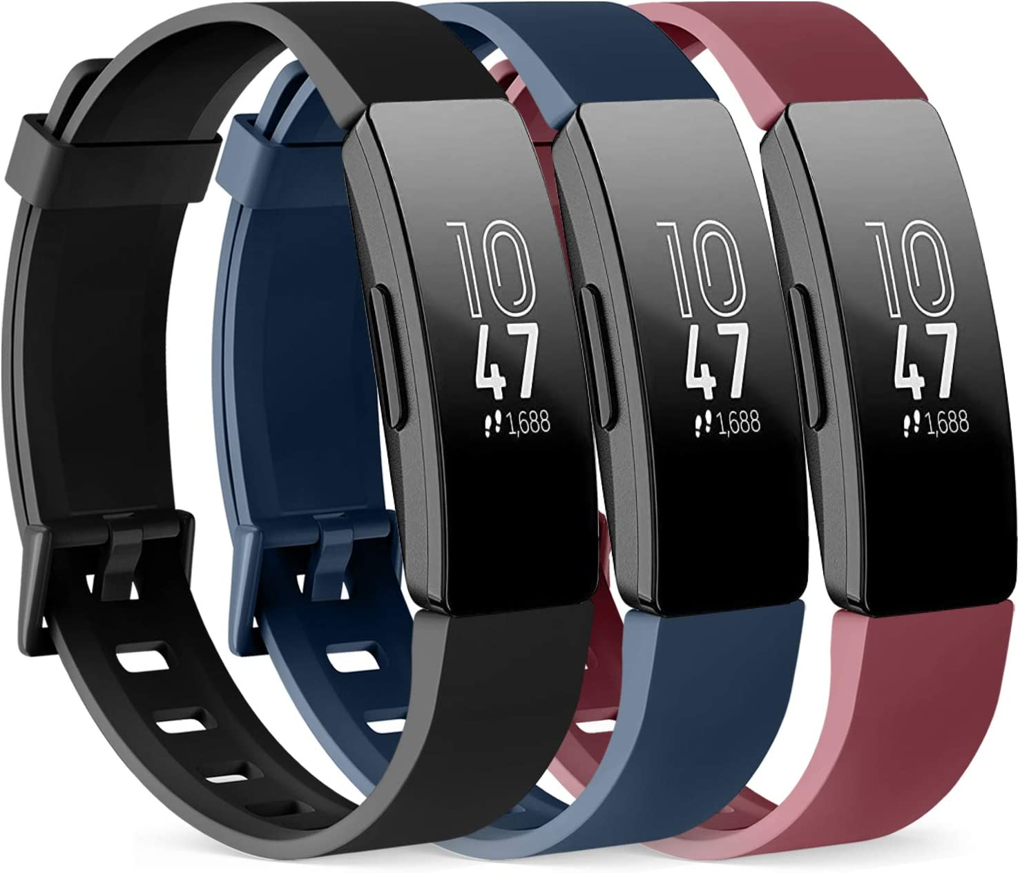 PACK 3 Silicone Bands for Fitbit Inspire HR & Fitbit Inspire 2 & Fitbit Inspire & Ace 2 Replacement Wristbands for Women Men Small Large (Large: for 7.1