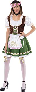 Women's German Oktoberfest Costume Set with Rose Headband for Halloween Dress Up Party and Beer Festival