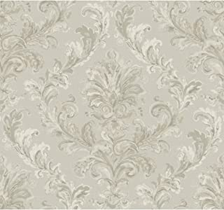 York Wallcoverings PL4644 Hyde Park Painterly Damask Wallpaper, Silver Sheen/Cream/Pewter/Taupe