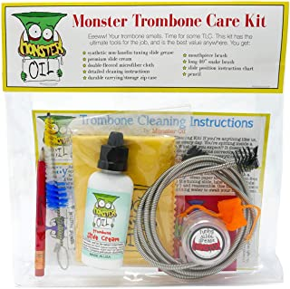 Monster Trombone Care and Cleaning Kit | Slide Cream, Slide Grease, Mouthpiece Brush...