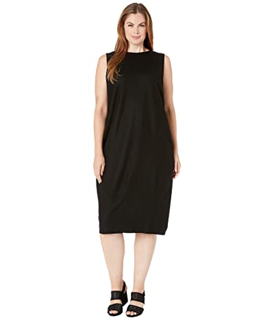 Eileen Fisher Plus Size Boiled Wool Jersey Round Neck Circle Length Lantern Dress (Black) Women