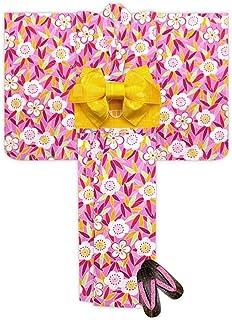 浴衣 こども 女の子 浴衣 セット レトロ モダン子供浴衣 作り帯 下駄 3点セット 選べるサイズ(100 110)「ピンク 笹と梅」TSW-822-set