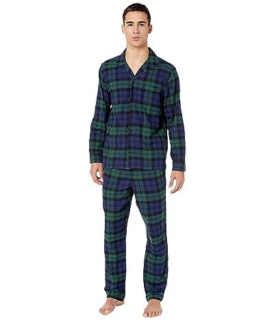 J.Crew Flannel Pajama Set in Black Watch Tartan (Dark Moss) Men