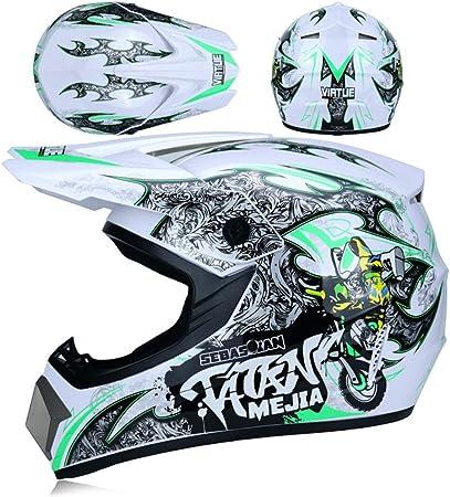 Jwl Motocross Helm Mit Brille Handschuhen Maske Enduro Mtb Helm Fullface Fahrrad Helm Cross Helm Motorradhelm Für Downhill Bike Atv Bmx Weiß Grün M Auto