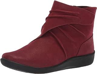 CLARKS Women's Sillian Tana Fashion Boot, Burgundy Synthetic Nubuck, 090 N US