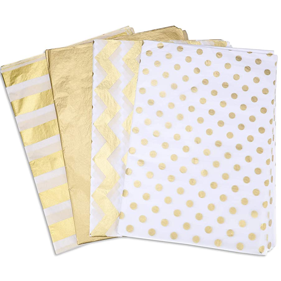 60 Sheets Gift Wrapping Tissue Paper Metallic Gold White Tissue Paper for Party Decor Gifts Making, 4 Styles