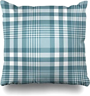 ArtsDecor Throw Pillow Covers Cases Quilt Blue Border Plaid Check Pattern Palette Dusty Abstract Greenish Green Checker Digital English Home Decor Cushion Square Size 20