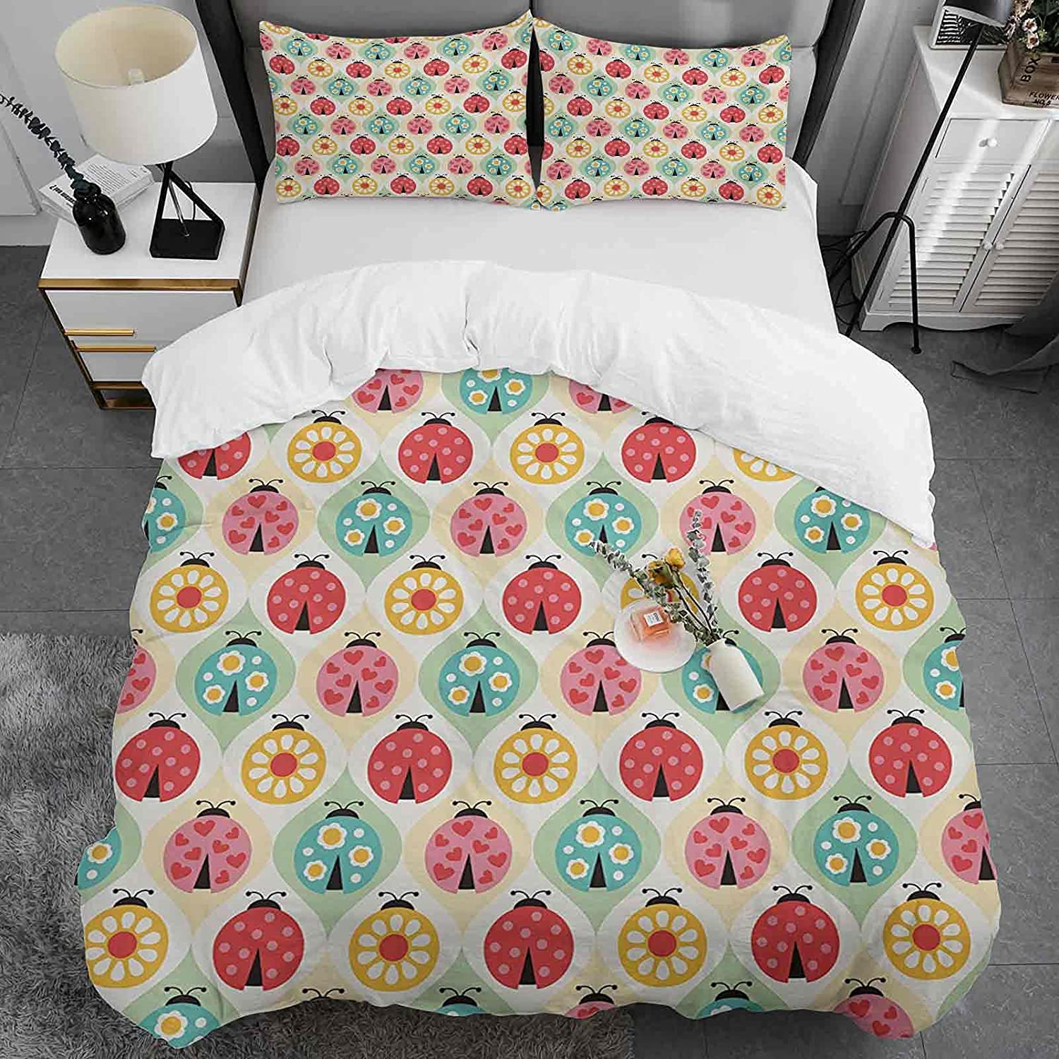 Kids Duvet Cover Twin Size Soft Duve Washed Pattern Cotton Long Beach Mall Very popular