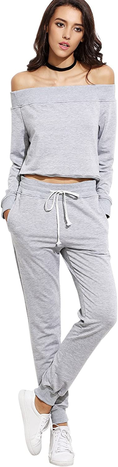 SweatyRocks Women's Two Piece Crop Top and Sweatpant Set Sport Tracksuit Outfit