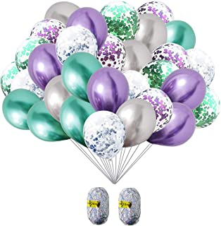 Mermaid Party Supplies Mermaid Balloons Purple and Turquoise Balloons with Mermaid Confetti Sparkle Balloons Decorations for Baby Shower Birthday Party Decoration(Set of 32)