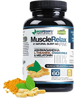 MuscleRelax PM by EcoStream Naturals - Sleep Aid, Nighttime Use, Naturally Derived Ingredients - Safe and Effective - Gluten-Free - 60 Capsules