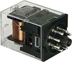 Omron MKS2P AC240 General Purpose Relay with Mechandical Indicator, Basic Model Type, Plug-In Terminal, Standard Internal Connections, Double Pole Double Throw Contacts, 11 mA at 50 and 9.6 mA at 60 Hz Rated Load Current, 240 VAC Rated Load Voltage