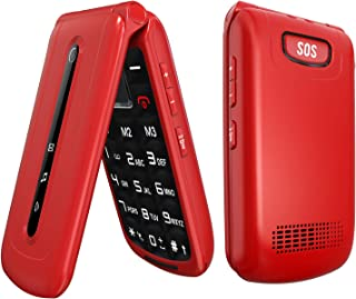 Ushining Unlocked Flip Phone 3G Dual SIM Card 2.4'' Flip Cell Phones Unlocked SOS Button Easy to Use Mobile Phone for Elde...
