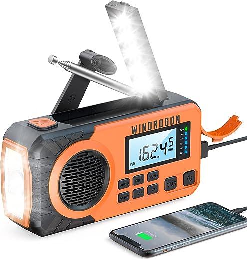 Emergency Radio 5000mAh,WinDrogon NOAA Weather Radio, Hank Crank Power AM/FM Radio, Portable Solar Hand Crank Radio with Flashlight & Reading Lamp & Cell Phone Charger, SOS Alarm for Home and Outdoor