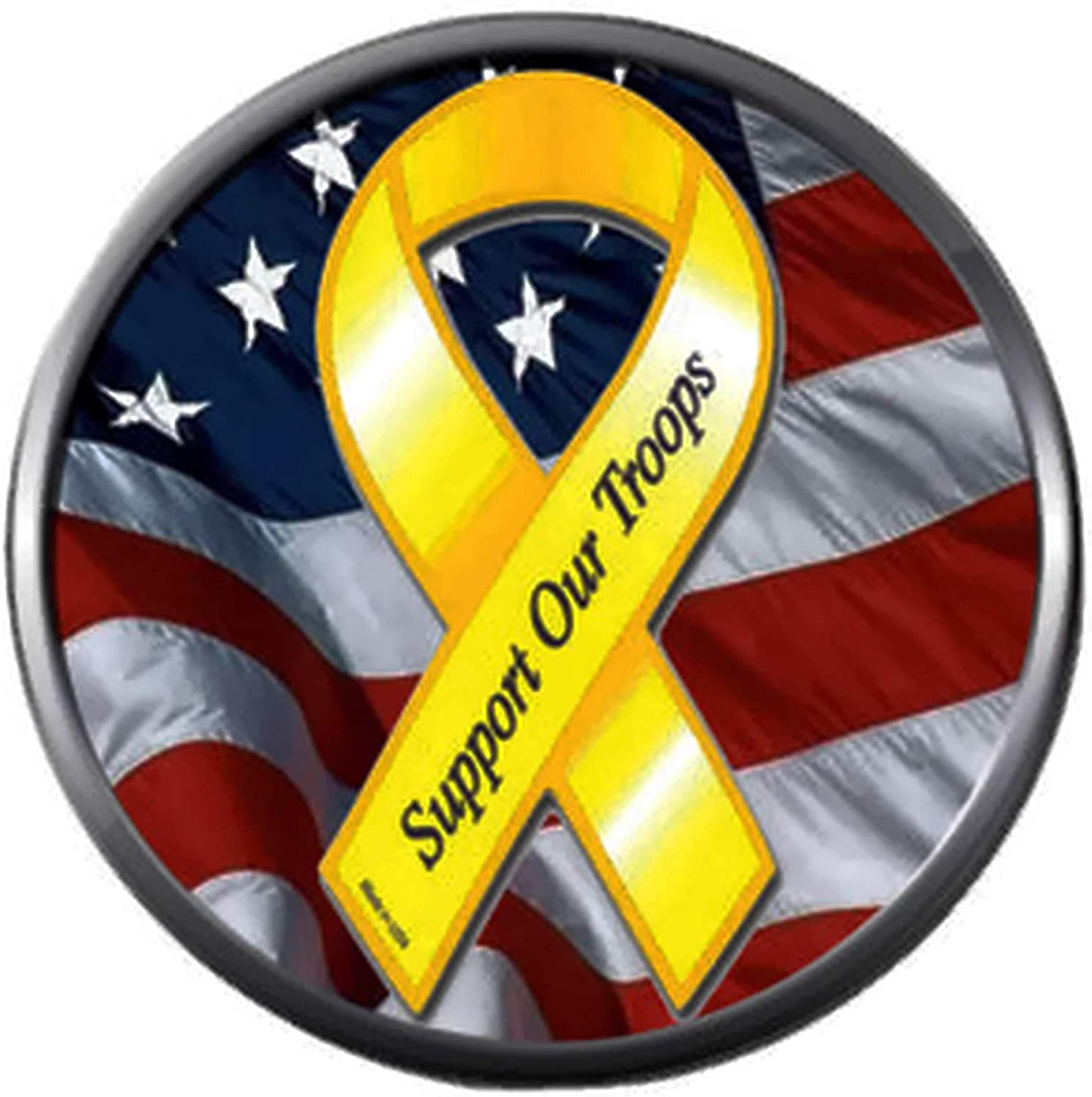 Support Our Troops USA Flag Red White and Blue Old Glory Yellow Ribbon 18MM - 20MM Snap Jewelry Charm