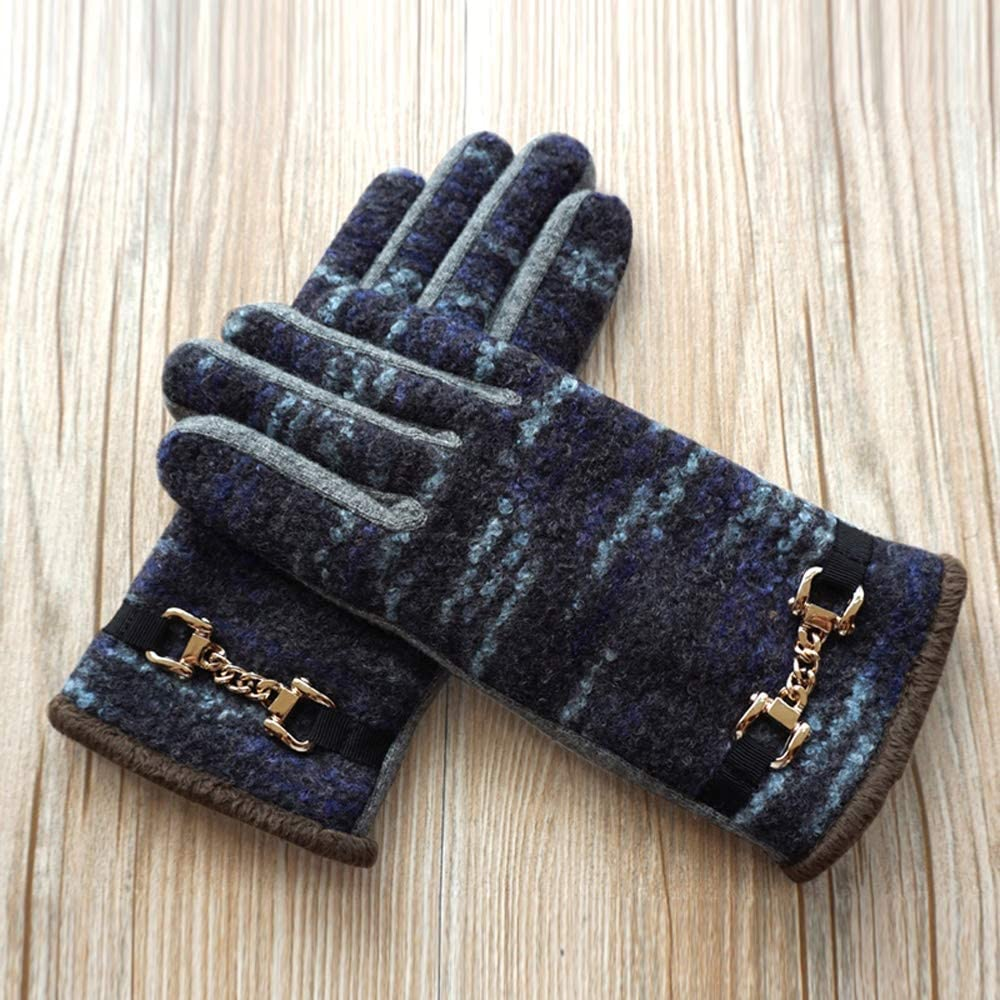 Rebily Autumn and Winter Ladies Gloves Wool Double Layer Plus Velvet Keep Warm Cold Protection Leisure One Size Touch Screen Driving Riding Full Finger Gloves