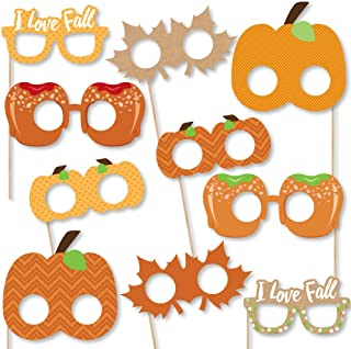 Big Dot of Happiness Pumpkin Patch Glasses and Masks - Paper Card Stock Fall or Halloween Party Photo Booth Props Kit - 10 Count