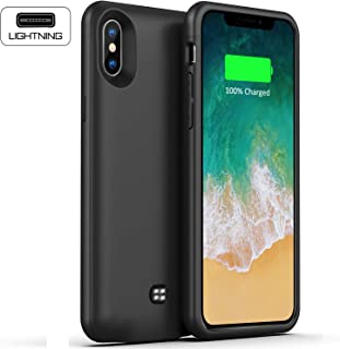 iPhone X/XS Battery Case 4600mAh Ultra Slim iPhone X Charging Case Portable Protective Battery Charger Case Compatible with iPhone X XS Fit Lightning Port Headphone Black