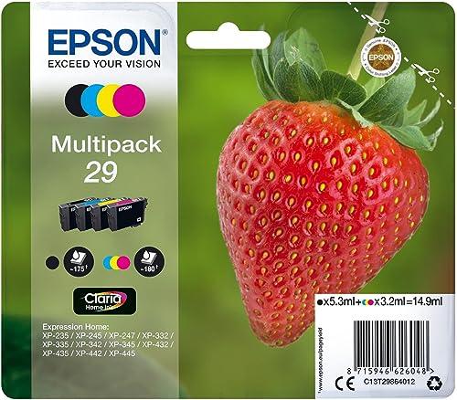 Epson Multipack 29 Fraise, Cartouches d'encre d'origine, 4 couleurs: Noir, Cyan, Magenta, Jaune, XP-235 XP-243 XP-245...
